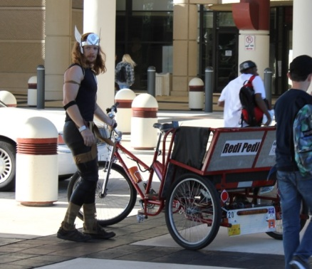 Even the bike cab guy got into the spirit.