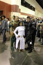 Leia, and an elaborately armored Aquaman and Batman