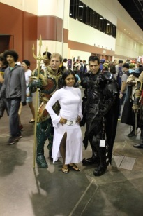 Leia, and an elaborately armored Aquaman and Batman