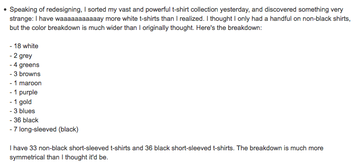 This was my shirts in January of 2007