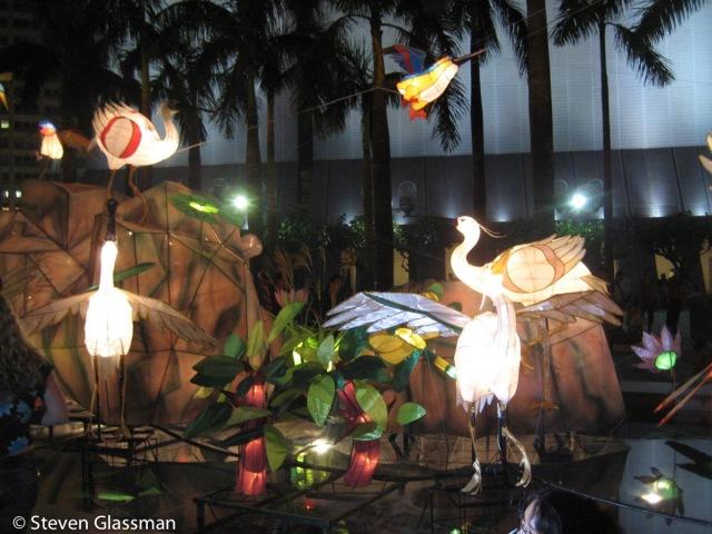 Paper lantern cranes.